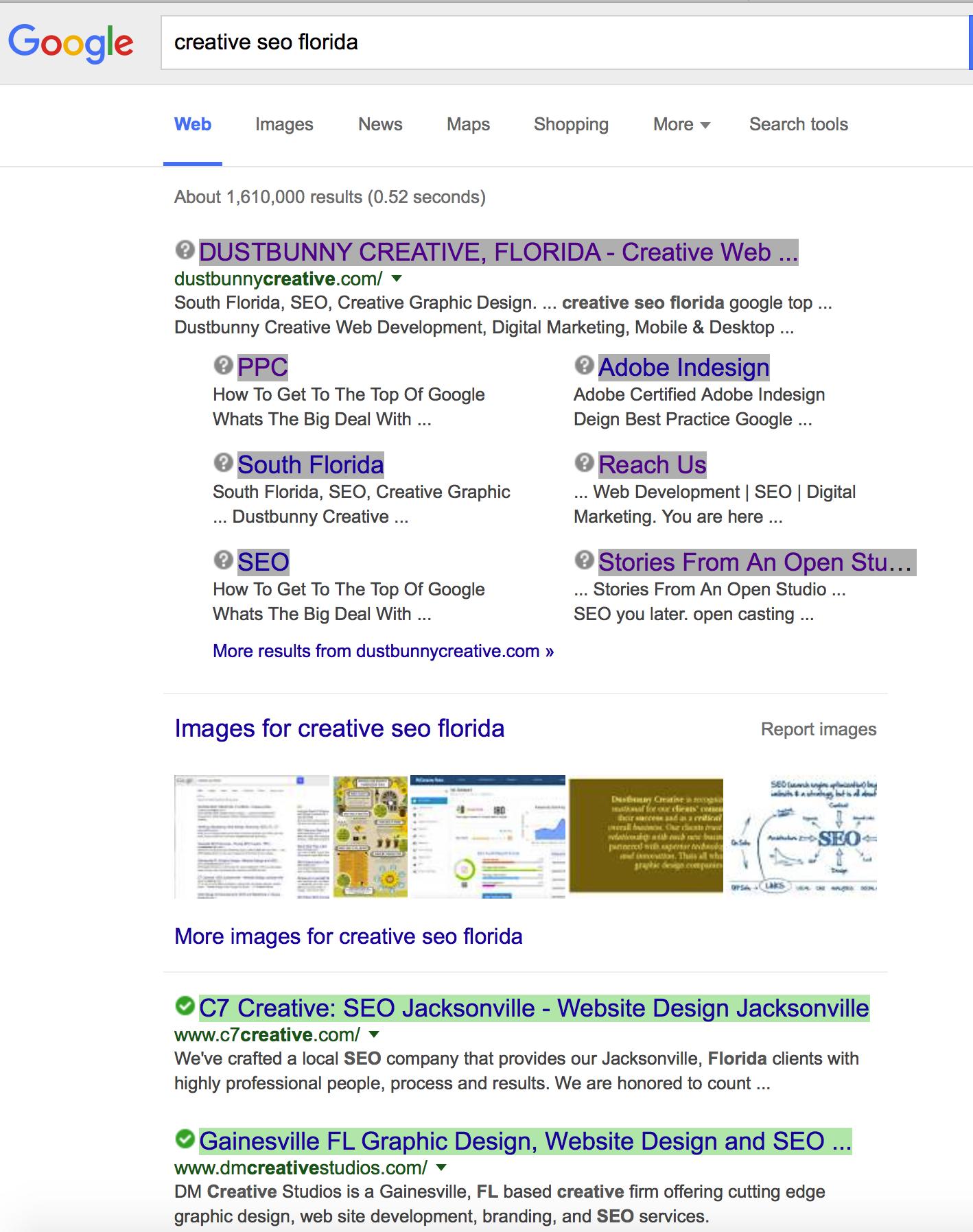 creative seo florida google screen shot
